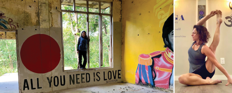 Nicole Depauw from Om Sweet Om Yoga and Fitness Studio in Sunset Beach, NC /Standing in a Beetles Tribute Mural All you Need is Love Right: Striking a yoga pose.